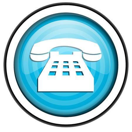 흰색 배경에 고립 전화 블루 광택 아이콘