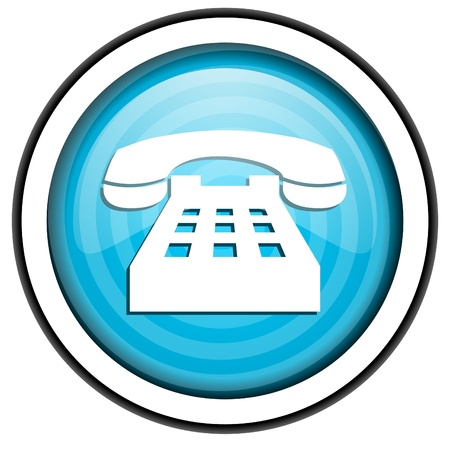 phone blue glossy Symbol auf weißem Hintergrund Standard-Bild