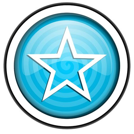 star blue glossy icon isolated on white background Stock Photo - 16955507