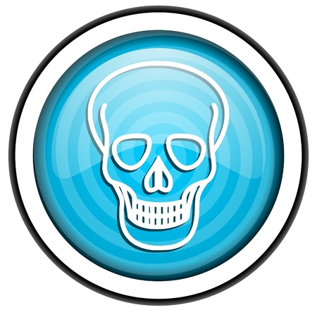 skull blue glossy icon isolated on white background Stock Photo - 16955550
