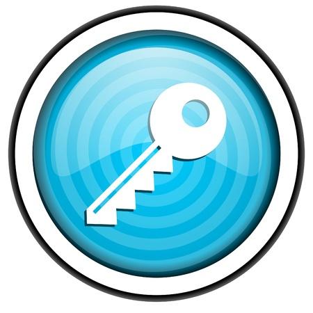 key blue glossy icon isolated on white background photo
