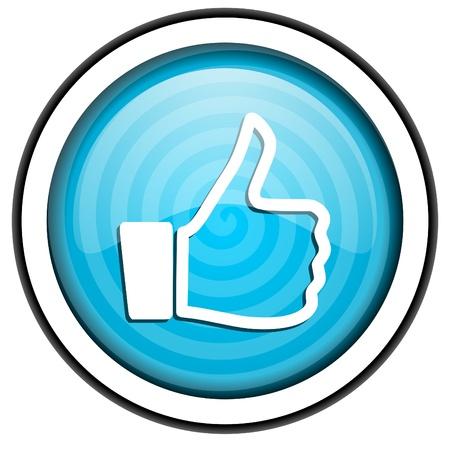 thumb up blue glossy icon isolated on white background Stock Photo - 16955458