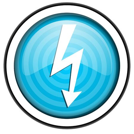 lightning blue glossy icon isolated on white background photo