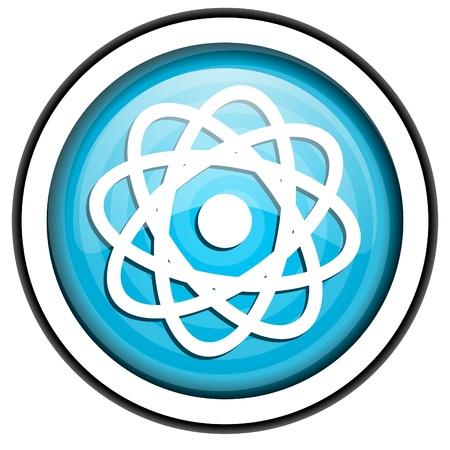 atom blue glossy icon isolated on white background Stock Photo - 16955547