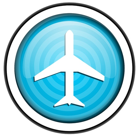 airplane blue glossy icon isolated on white background photo
