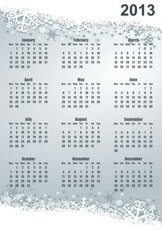 2013 calendar with snowflakes photo