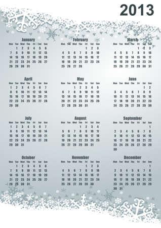 2013 calendar with snowflakes Stock Photo - 16955556