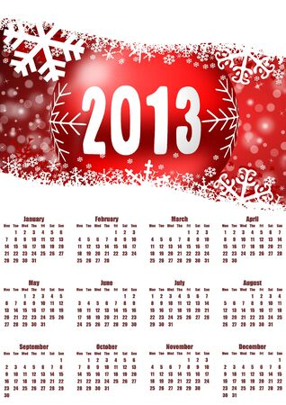 2013 calendar with christmas balls photo