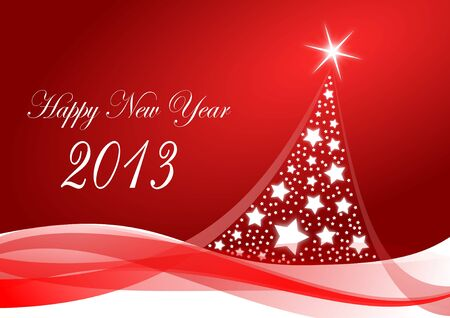 happy new year 2013 illustration with christmas tree illustration