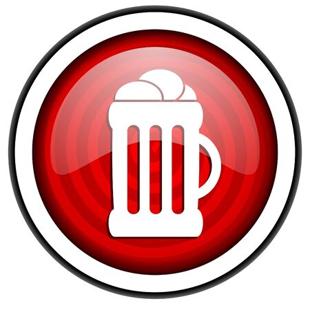 beer red glossy icon isolated on white background photo