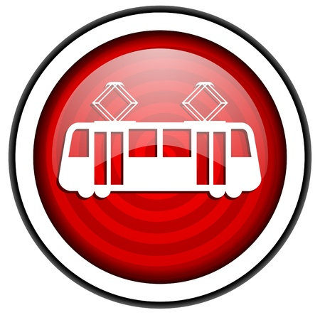 tram red glossy icon isolated on white background Stock Photo - 16975326