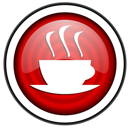 coffee red glossy icon isolated on white background photo