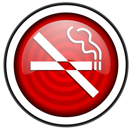 no smoking red glossy icon isolated on white background photo