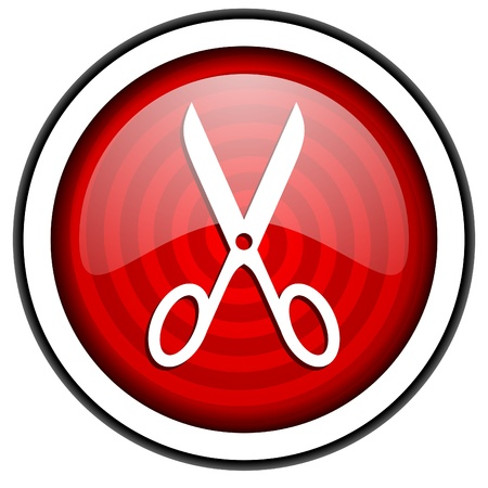 scissors red glossy icon isolated on white background photo