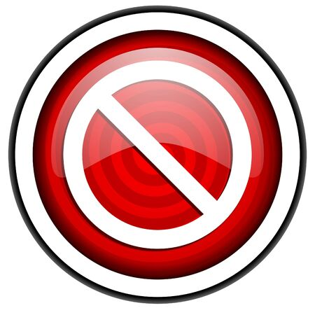 access denied red glossy icon isolated on white background Stock Photo - 16975267