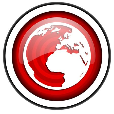 earth red glossy icon isolated on white background photo