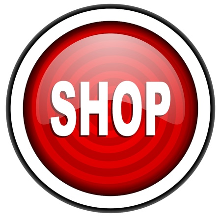 internet shop: shop red glossy icon isolated on white background Stock Photo