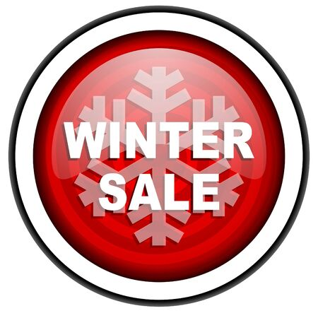 winter sale red glossy icon isolated on white background photo