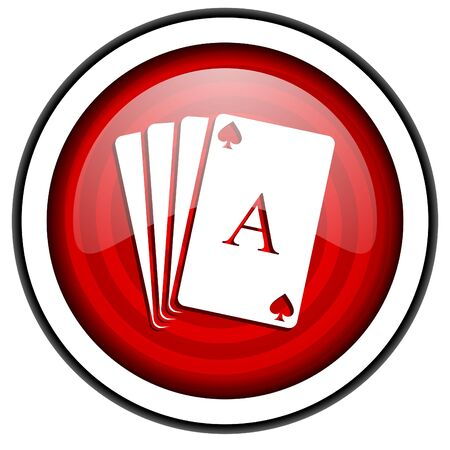 playing cards red glossy icon isolated on white background photo