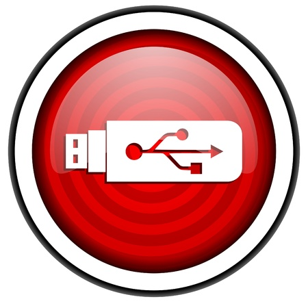 usb red glossy icon isolated on white background photo