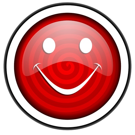 smile red glossy icon isolated on white background Stock Photo - 16975227