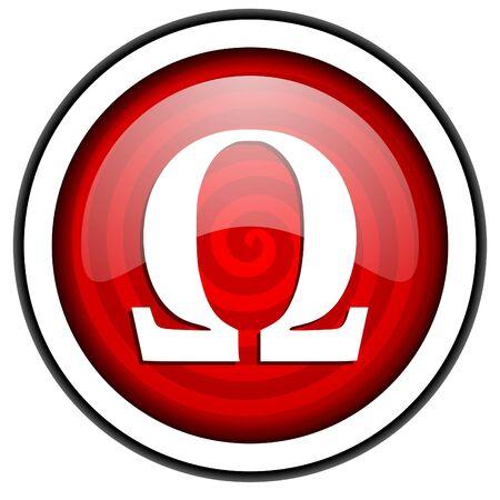greek alphabet: omega red glossy icon isolated on white background Stock Photo