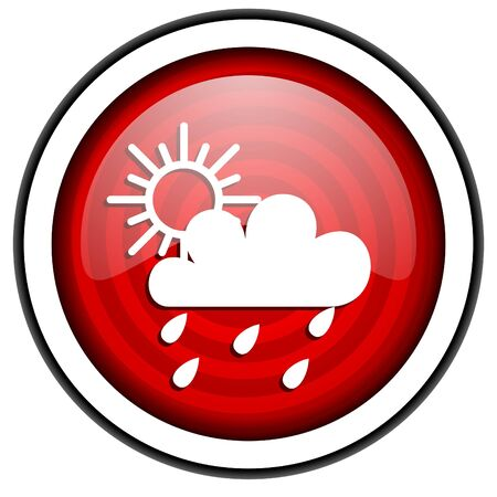 weather forecast red glossy icon isolated on white background Stock Photo - 16975246