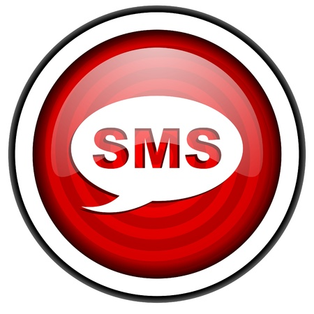 sms red glossy icon isolated on white background Stock Photo - 16975207