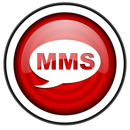 mms red glossy icon isolated on white background Stock Photo - 16975220