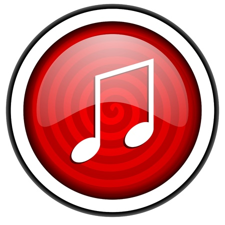 music red glossy icon isolated on white background photo