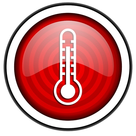 thermometer red glossy icon isolated on white background photo
