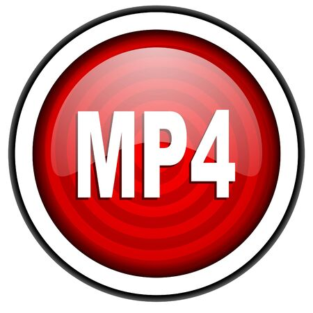 mp4: mp4 red glossy icon isolated on white background Stock Photo