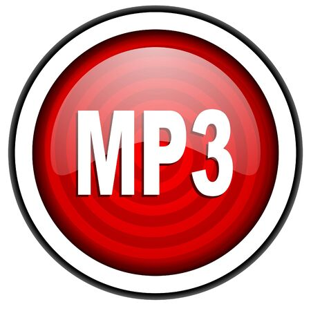 mp3 red glossy icon isolated on white background photo