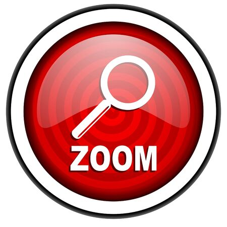 zoom red glossy icon isolated on white background Stock Photo - 16975307