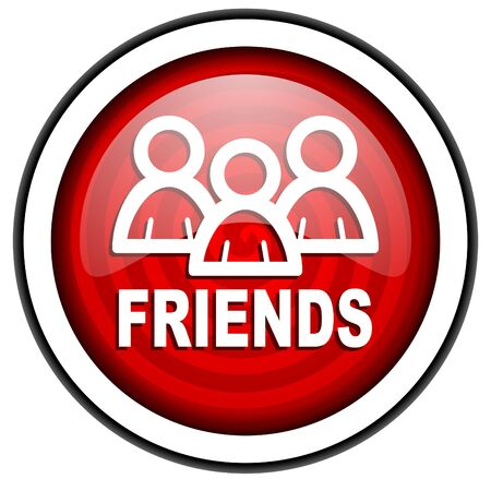 friends red glossy icon isolated on white background Stock Photo - 16975347