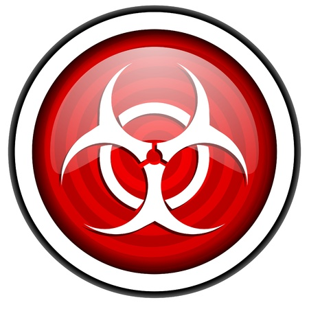 virus red glossy icon isolated on white background Stock Photo - 16975335