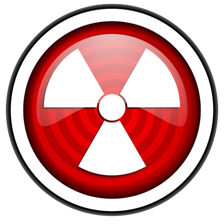 radiation red glossy icon isolated on white background Stock Photo - 16975044
