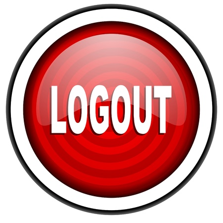 logout red glossy icon isolated on white background Stock Photo