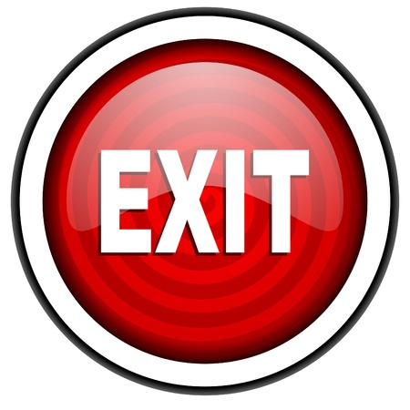 exit red glossy icon isolated on white background photo
