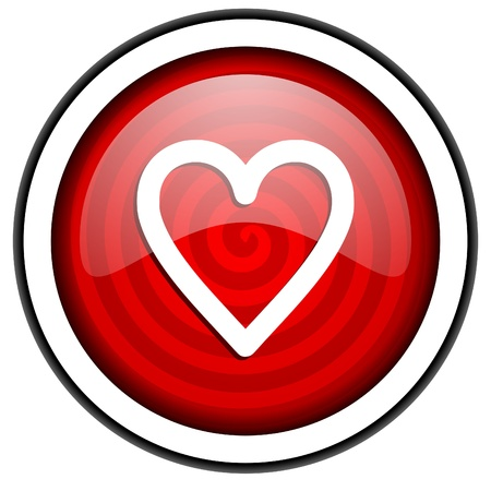 heart red glossy icon isolated on white background Stock Photo - 16975206