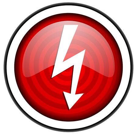 lightning red glossy icon isolated on white background photo