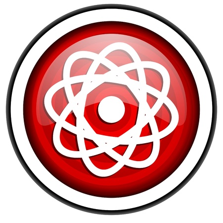 atom red glossy icon isolated on white background Stock Photo - 16975350