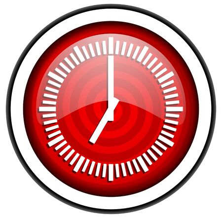 clock red glossy icon isolated on white background photo