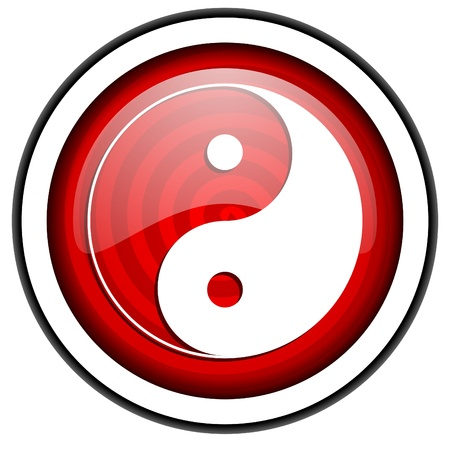 ying yang red glossy icon isolated on white background photo
