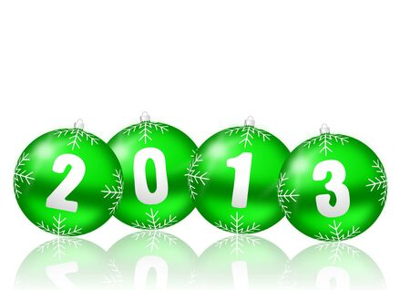 2013 new years illustration with christmas balls on white background