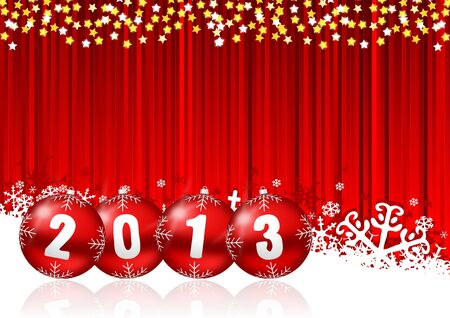 2013 new years illustration with christmas balls and snowflakes on red background illustration