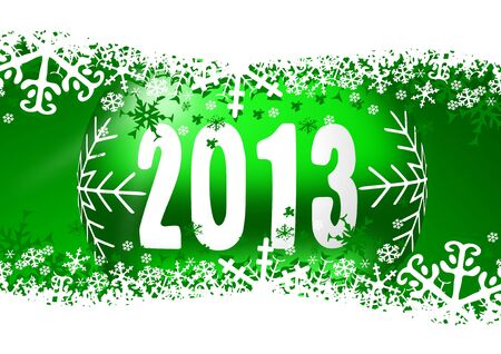 2013 new years illustration with christmas ball and snowflakes on green background Stock Illustration - 16975365