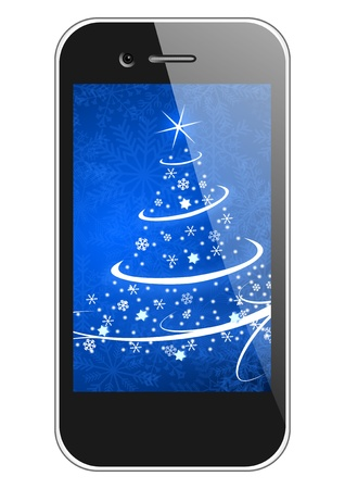 the turn of the year: moblie phone with christmas tree wallpaper christmas illustration Stock Photo