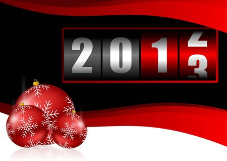 2013 new years illustration with christmas balls and counter illustration
