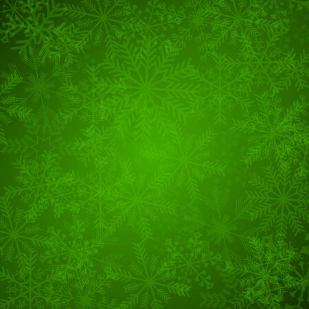 green christmas background with snowflakes photo
